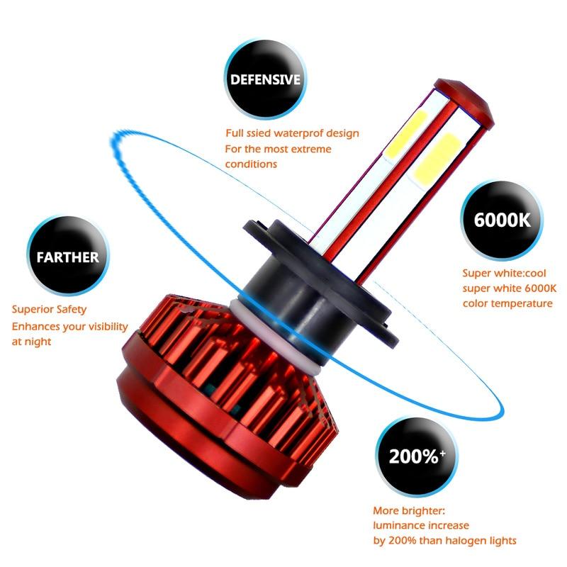 Dropshipping 1 Pcs H7 H4 9006 H1 4 side Car LED Headlight 80W 12000LM 6000K Bright