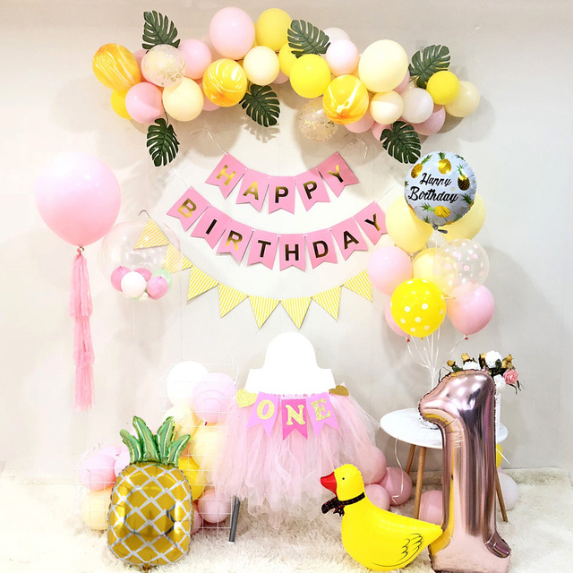 Birthday Party Decorations Kids Yellow Pink Balloon Garland Baby