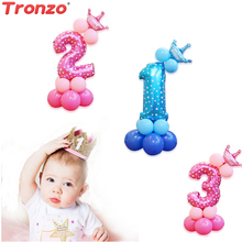 Tronzo 13pcs Crown Anzahl Folienballons Geburtstag Partydekorationen Kids Favor Pink Blue Anzahl Luftballons Baby Shower Boy Girl