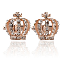 1 Pair Shine Crystal Imperial Crown Women Cufflinks New Fashion Luxury Elegant Christmas Blouse/Shirt Wholesale
