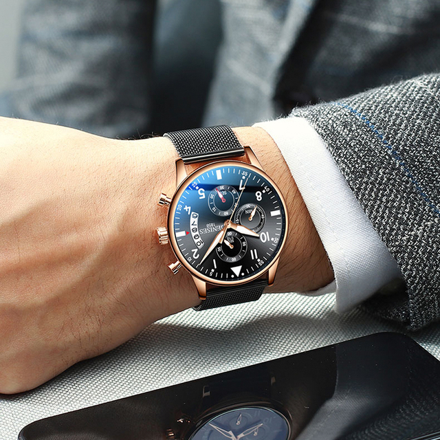JENISES New Fashion Mens Watches Luxury Stainless Steel Quartz Chronograph Watch Men Casual Sport Waterproof Wristwatch relogio