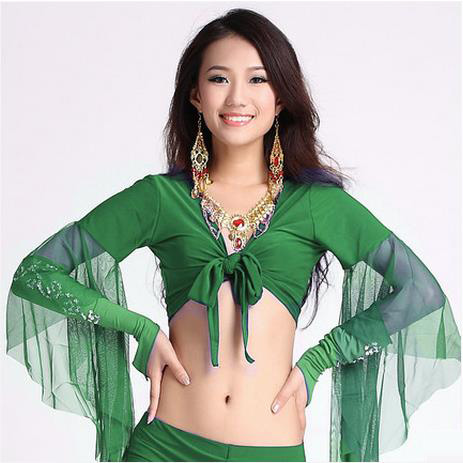 12 Colors Wholesale Women Belly Dance Clothes Sexy Spandex Belly Dance Top Mesh Horn Sleeves Belly Dance Top