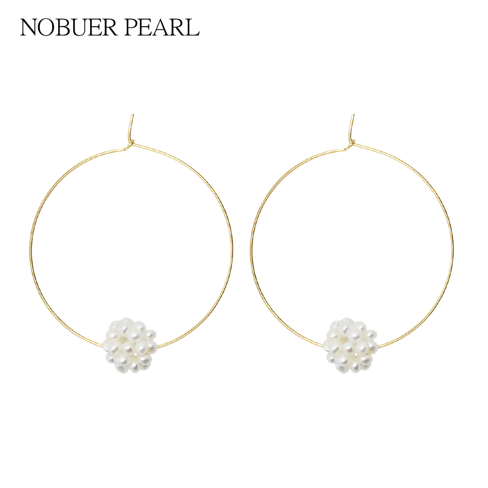 Nobuer 14K gold Big Hoop Earrings Real Pearl Earrings For Women To A Party Many 3-3.5mm Pearl Composition Ball Shape Earrring pair of retro rhinestone faux pearl petal shape earrings for women