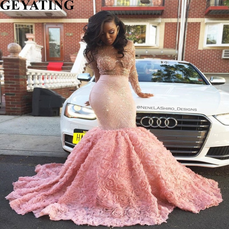 Glitter Sequin Black Girl Mermaid Pink Prom Dresses Long Sleeves 2019 3D Floral Court Train African Long Plus Size Evening Dress