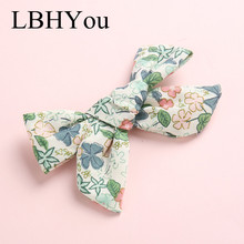 1pc Spring Summer Handtie Floral Print Hair Clips,One Size Fit Most School Girls Flowers Fabric Bows Hairpins,Princess Wear