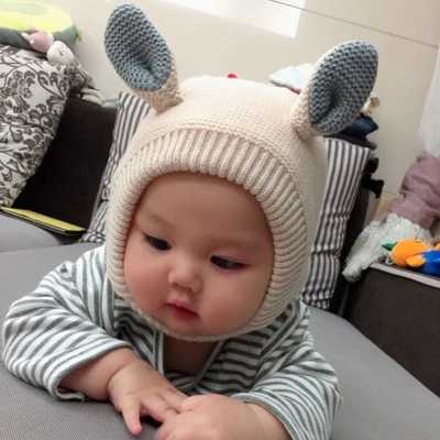 Winter children's woollen cap baby hat ear cap knitted hat for boys and girls with warm wool cap baby cap cover head Ear hat