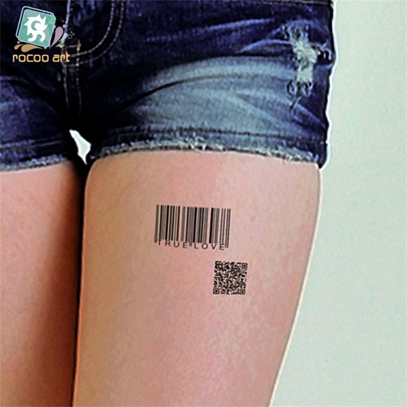 Body Art Sex waterproof temporary tattoos for men and women individuality 3d Barcode design tattoo sticker Wholesale HC1077 1