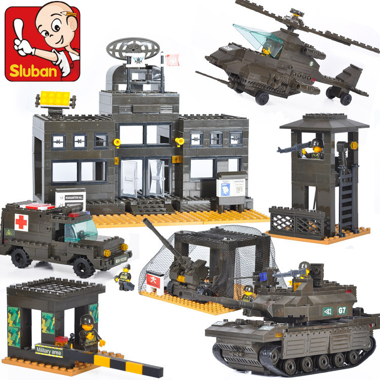 Sluban model building kits compatible with lego city army 778 3D blocks Educational model & building toys hobbies for children aircraft carrier ship military army model building blocks compatible with legoelie playmobil educational toys for children b0388