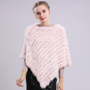 Image 5 - Fashion Real Rabbit Fur Poncho Genuine Real Rabbit Fur Shawl Scarf Knitted Elastic Women Party Real Natural Rabbit Fur Pashmina