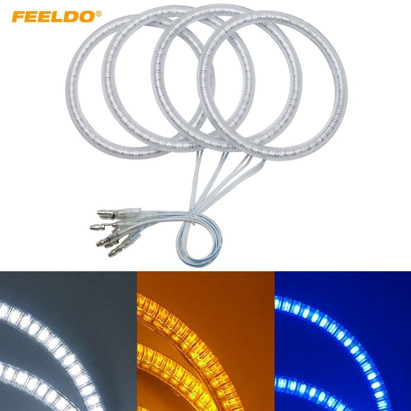 FEELDO 1Set(4*100mm) Auto SMD Angel Eyes Light Halo Rings DRL For Volvo S40 Headlight White Yellow Blue #AM5272