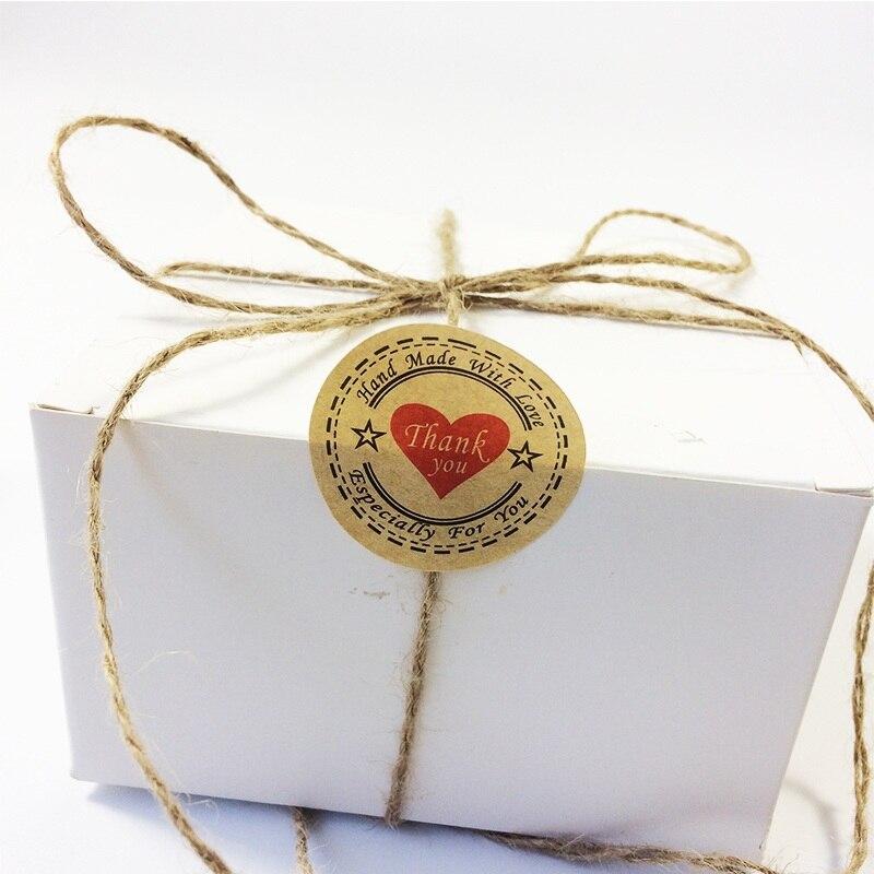 Купить с кэшбэком 100pcs/pack Thank you Heart Round eco-friendly Kraft Stationery label seal sticker Students' DIY Retro label handmade products