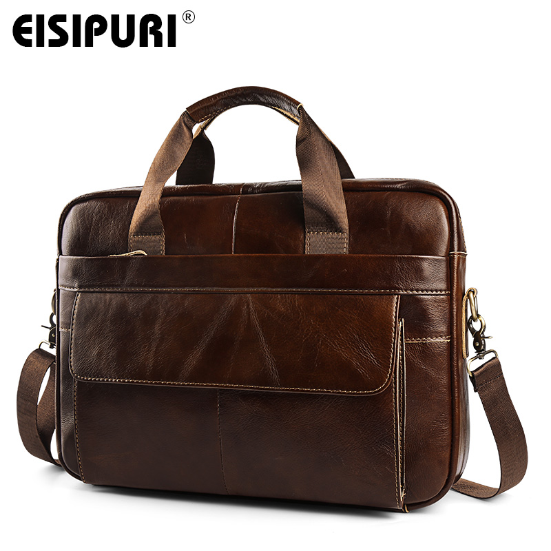 Oil wax Genuine Leather Men Business Briefcase Handbags Crossbody Bags Men's Travel Laptop Shoulder Bag Messenger Tote Bags