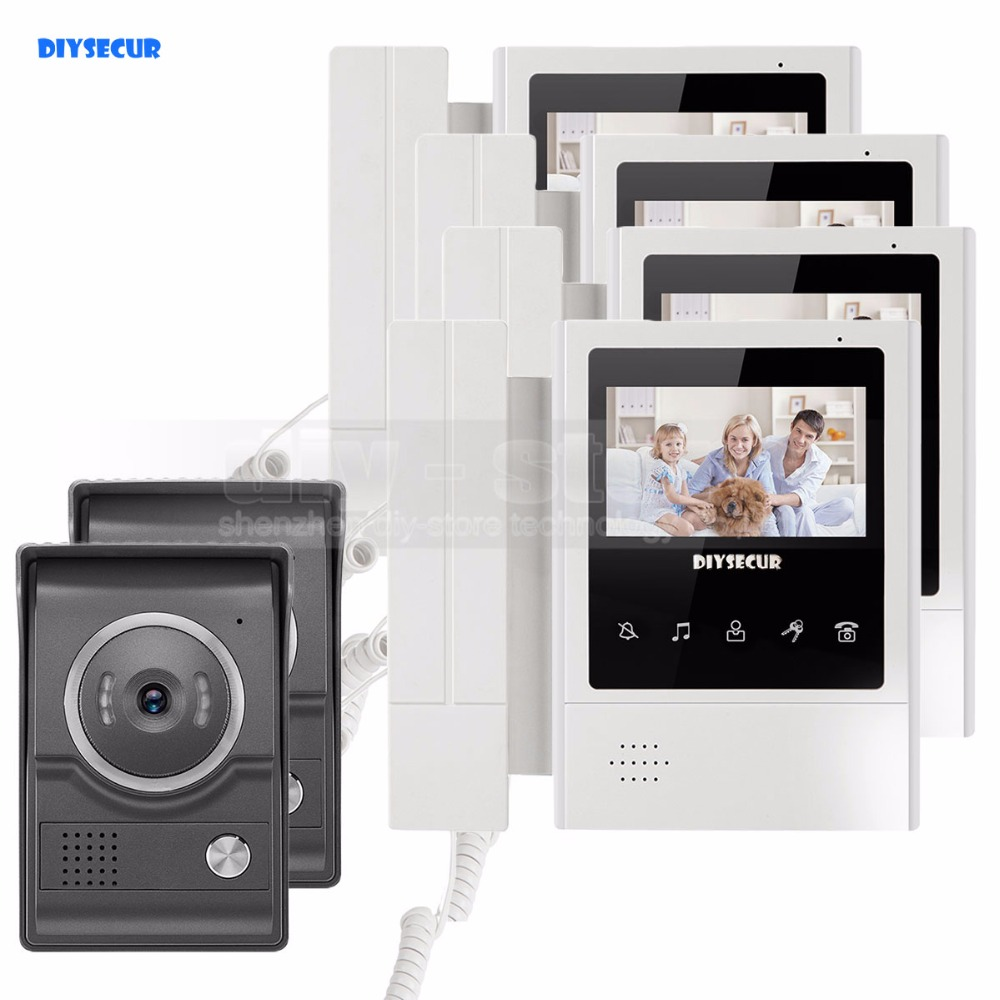 DIYSECUR 4.3inch Handheld/Handfree Video Intercom Video Door Phone Waterproof 700TV Line IR Night Vision HD Camera 2V4