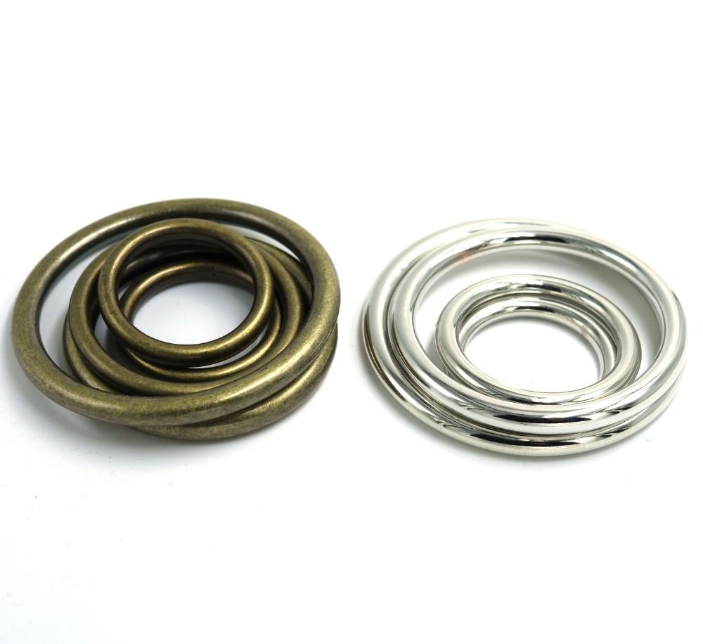 Chegada de novo! 25mm/30mm/35mm/40mm/45mm/50mm rodada acessórios de vestuário cintura plástico prata/bronze rodada fivela de cinto ring10pcs