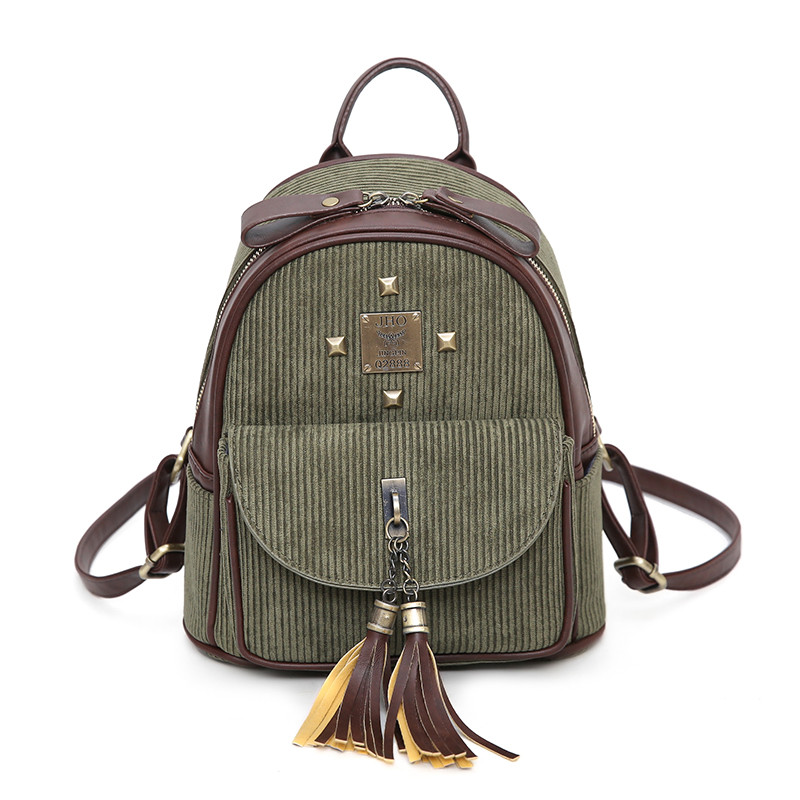 New Fashion Women Preppy Style Corduroy Daily Backpack High Quality Students School Bag Korean Style Tassel
