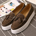 Casual Women's Wedge Shoes Real Leather Platform Loafers Brogue Tassel Creepers Manmade Moccasins Flat Shoe Size 35-39