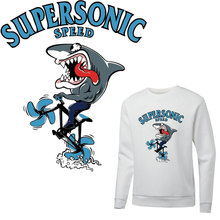 funny bicycle shark iron on patches for clothing sticker heat transfert thermocollant T-shirt hoodie diy patch parches ropa