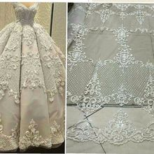 Hot selling off white/black/gold handmade bead on mesh embroidered lace fabric bridal wedding dress lace 130cm one yard