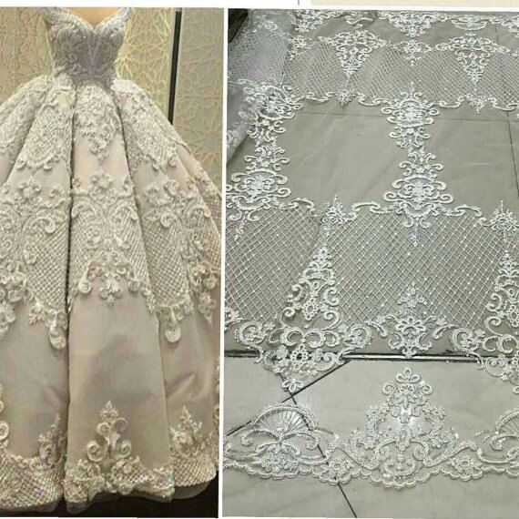 Hot Ing Off White Black Gold Handmade Bead On Mesh Embroidered Lace Fabric Bridal