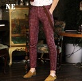 EARL JOEL high quality 2015 men summer 100% cotton red plaid casual ankle-length pants straight pocket super slim suits pant