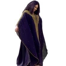 فساتين أفريقية للنساء فستان طويل مسلم جديد تصميم أفريقي بازان الشيفون عصا طويلة الماس كم Dashiki فستان لسيدة