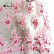 White Red bean color Wedding Dress Lace Fabric, 3D Chiffon Flowers Nail Bead High End European Lace Fabric Free Shipping RS35
