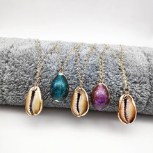 цены New Gold Natural Conch Necklace Ladies Beach Pendant Necklace Exaggerated Color Conch Necklace Ladies Wedding Necklace