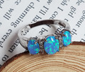 Amazing Blue Fire Opal Stone Rings for Anniversary USA SIZE 6 7 8 9