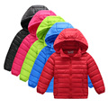 2016 winter new children boys and girls down jacket thin section solid color hooded down jacket big virgin