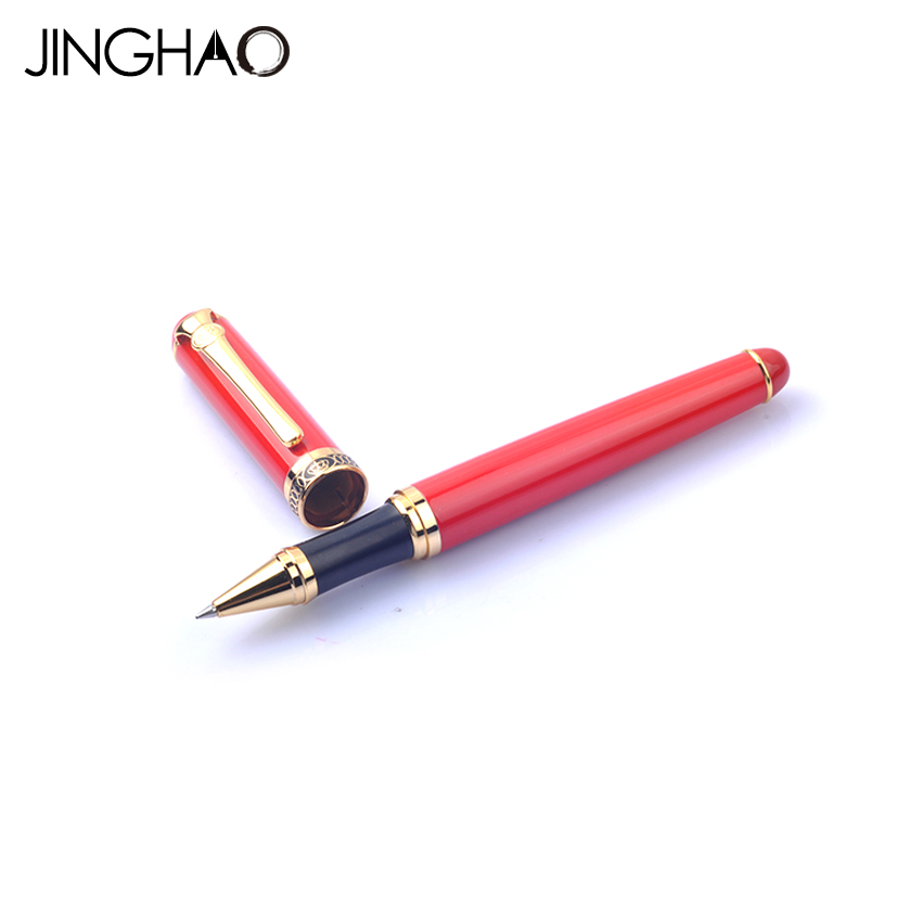 цена на 1pc Golden Clip Red and Black Rollerball Pens DUKE D2 Series Metal 0.5mm Black Ink Writing Pens Stationery with an Original Box