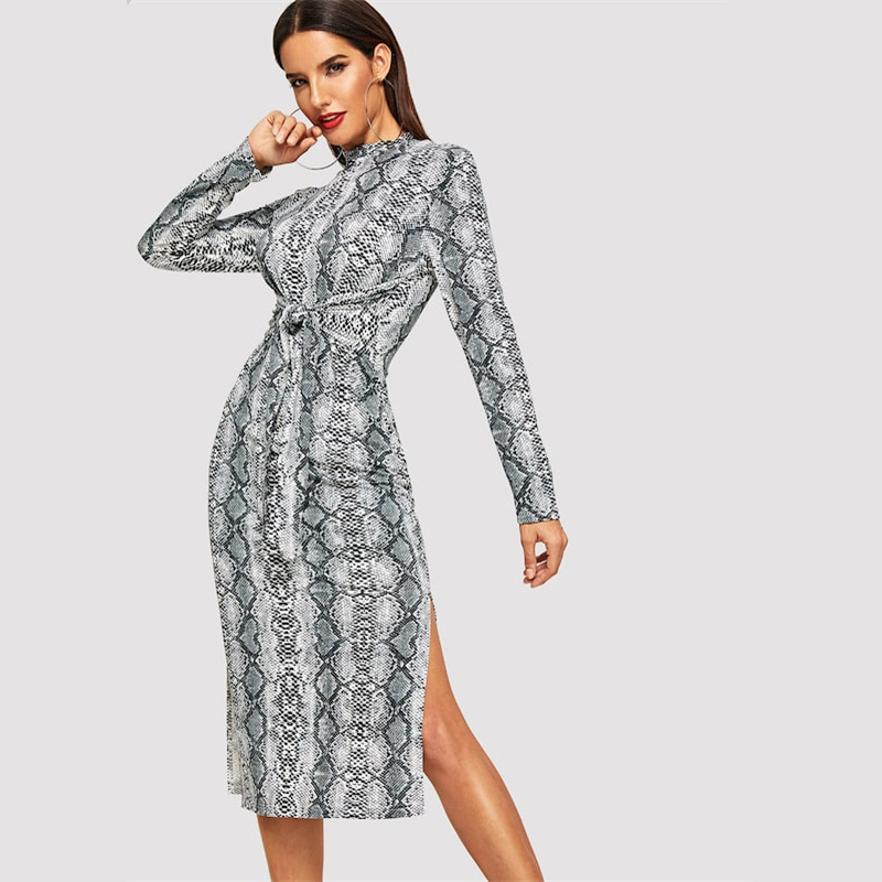 COLROVIE Mock Neck Snake Print Split Long Sleeve Sexy Dress Women Autumn Streetwear Party Dress Bodycon Casual Midi Dresses 13