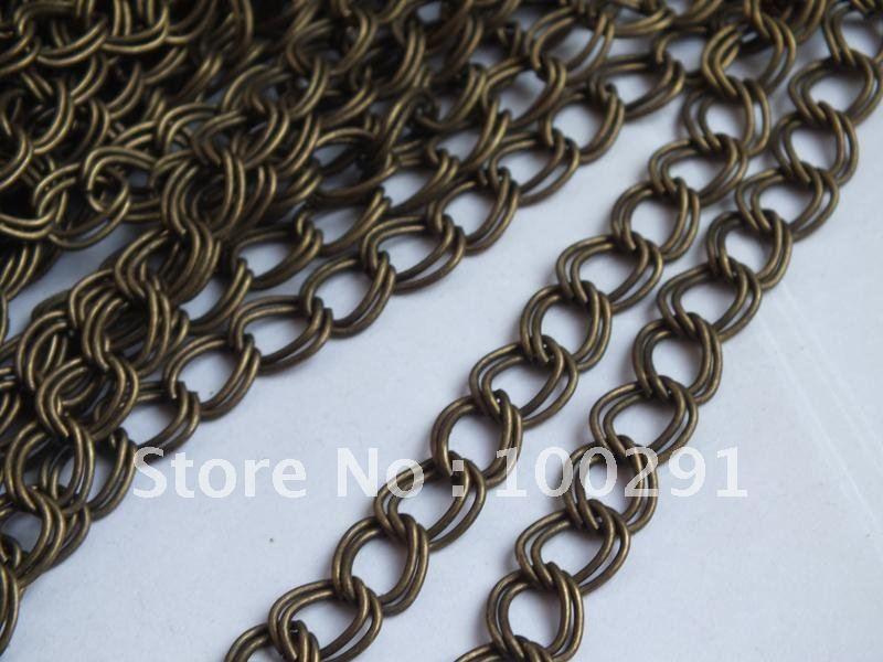 Без никеля! 100 м/лот 9x10 мм Античная бронзовая бижутерия ожерелье цепь звенья цепи