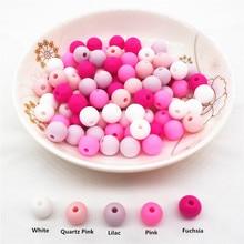 Chenkai 100pcs 9mm 12mm 15mm Silicone Teether Beads DIY Baby Teething Pacifier Dummy Montessori Sensory Jewelry Making