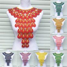 Diamantes de imitación para cuello de encaje para escote, apliques de hierro para bordado, accesorios de tela con pegamento, 1 ud.