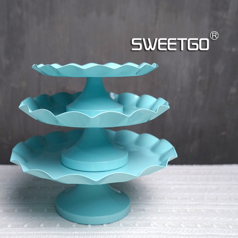 SWEETGO Tiffany blue Snack tray cake stand cupcake plate tools waterproof paint candy bar decoration for wedding party bakeware