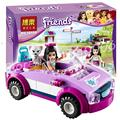 160 unids 10154 bela amigos emma sports car modelo ensamblar los bloques bloques de construcción niña juguetes para niños compatibles con lego