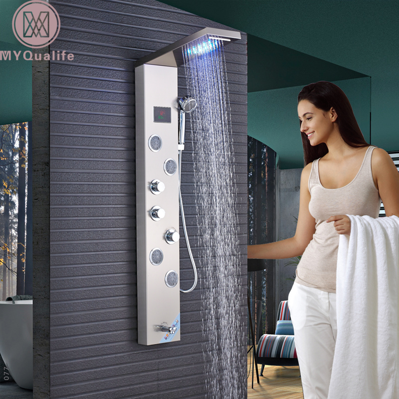 LED Light Waterfall Rain Shower Panel 4pc SPA Sprayer Jets 3 Handles Shower Column Faucet Tower W/Hand Shower Tub Spout gold finish shower panel waterfall shower column w jets tub spout brass hand shower shower panel