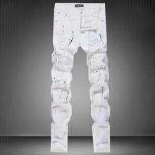 European and American style paint thrown rotten cut white jeans Tide brand fashion casual straight slim quality jeans men 30-36