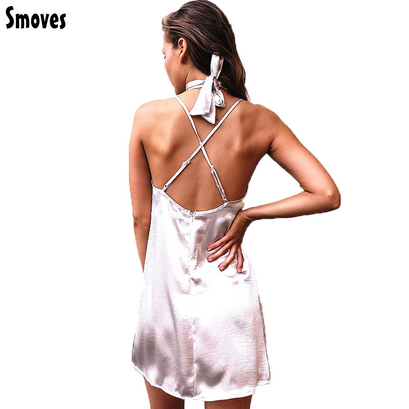 Smoves Women Sexy Deep V Neck Back Strappy Cross Choker Neck Silk Satin Slip Dress A-Line Shinning Party Dresses Vestidos New