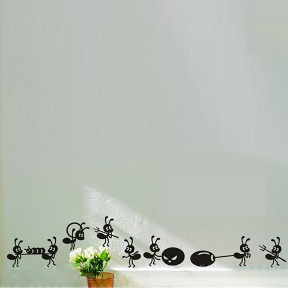 Cute Ants Deliver Food Vinyl Sticker Small Size Funny Decals For Home Glass /Window Decoration ...