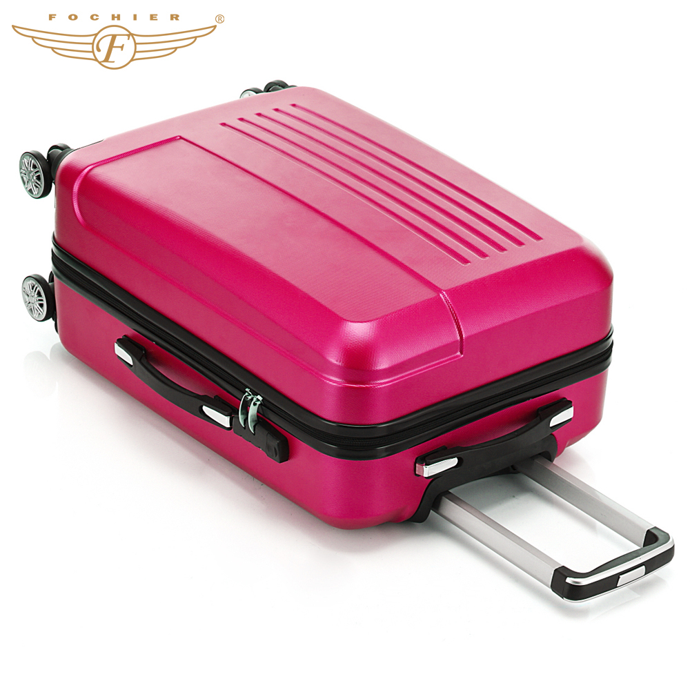 2017  Fochier 20 24 inch  ABS Hardside luggage Single Rolling Spinner 4 Wheels Travel Suitcase Luggage Set Rose Red 19inch leopard pattern hardside abs pc suitcase rolling luggage