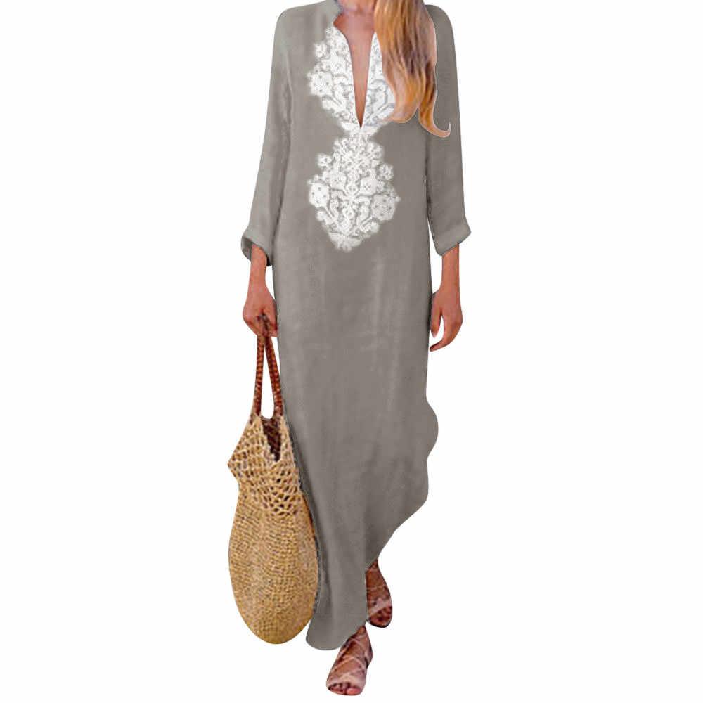 SAGACE 女性 2019 プリントリネン長袖セクシーな V ネックマキシドレス分割裾だぶだぶカフタンカジュアル女性のドレス服