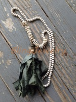 N16040813 Knot Turquoise Chip Beads Necklace Shabby BoHo Sari Silk Tassel Necklace