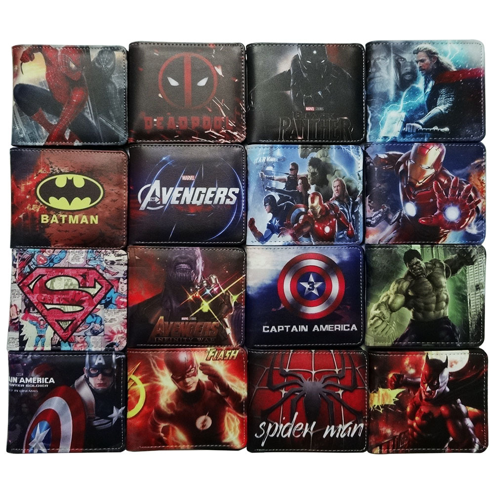 Marvel Cartoon Wallet Avengers League Spider Man Iron Man Batman Flash Short Wallets Creative Gift Anime Student Leather Purse