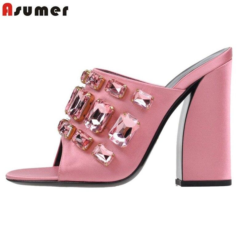Asumer 크기 34 43 새로운 패션 스웨이드 가죽 여성 샌들 들여다 발가락 슬링 백 라인 석 저녁 식사 하이힐 파티 결혼식 신발-에서하이힐부터 신발 의  그룹 1
