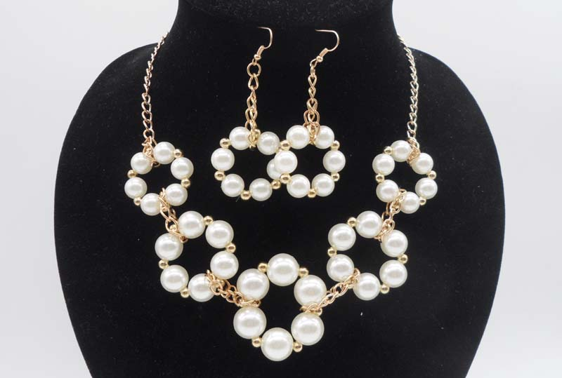 2016 New Imitation Pearl Jewelry Necklace Sets Multilayer Simulated-pearl Necklace/Earrings Gold-plated Jewelry Sets