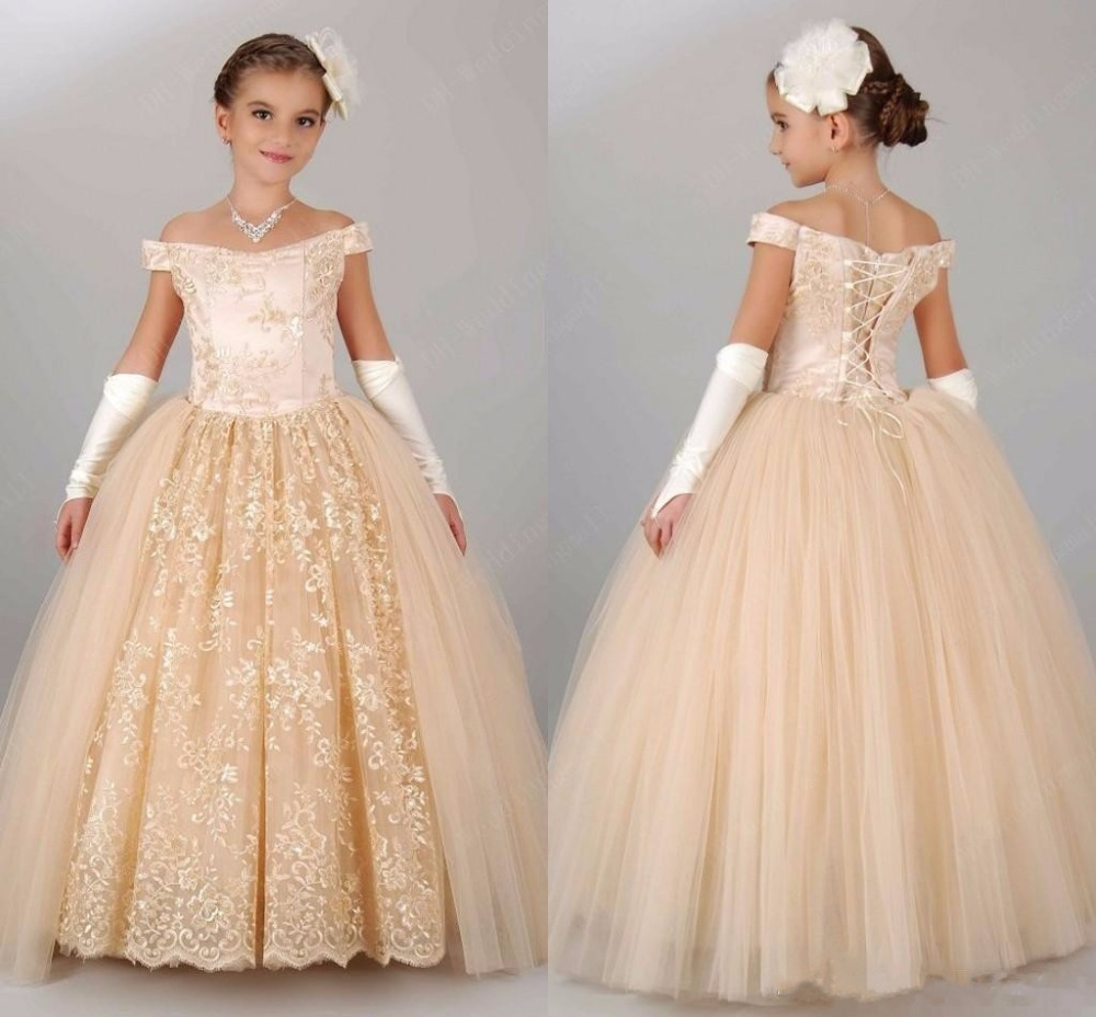 New Vintage   Flower     Girls     Dresses   For Wedding Off Shoulder Champagne Lace Princess Party Children For Birthday   Girls   Pageant Gown