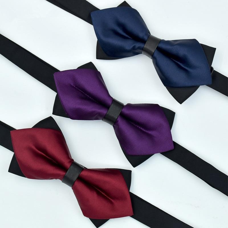 CityRaider Solid Burgundy Navy Blue Silver Wedding Tuxedo Tie Plain Color Self Bow Ties For Men Silk Pre-Tied Tux Bow Tie C029