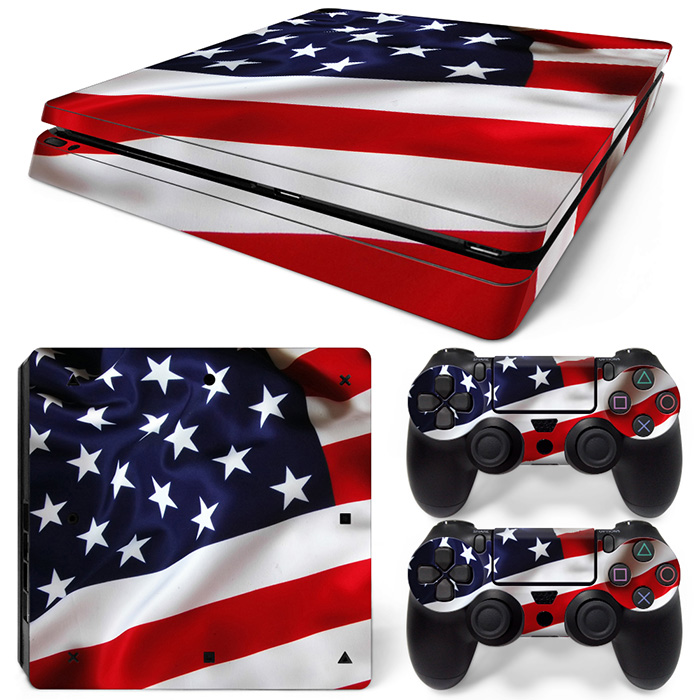 Free Drop Shipping Full Faceplates Skin Console & Controller Decal Stickers for PS4 Slim Console Skin-USA FLAG