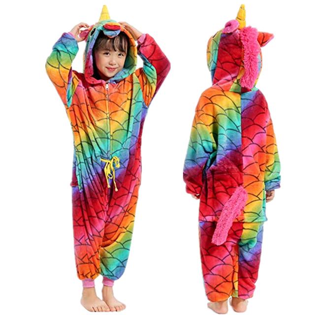 Children Unisex Unicorn Onesie Animal Pajamas Boys Girls Halloween Costumes Kids Xmas Gift